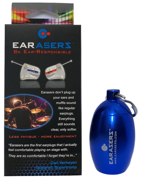 Earasers Musician's Hi-Fi Earplugs with Keychain (blue canister)