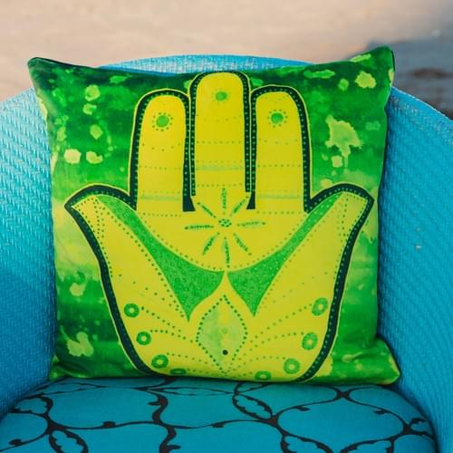 Handmade velvet cushion 'Yellow Hamsa' designed by Beach Bird