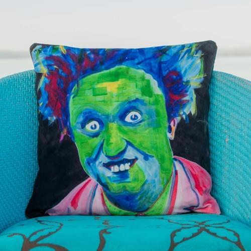 *WAITING FOR NEW STOCK8* Handmade velvet cushion 'Ken Dodd' designed by Beach Bird