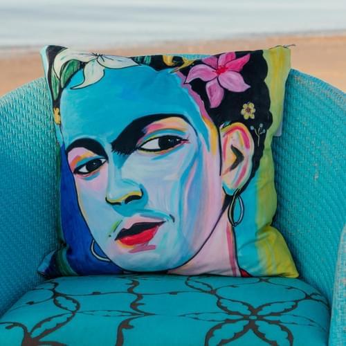 Handmade velvet cushion 'Blue Frida' designed by Beach Bird