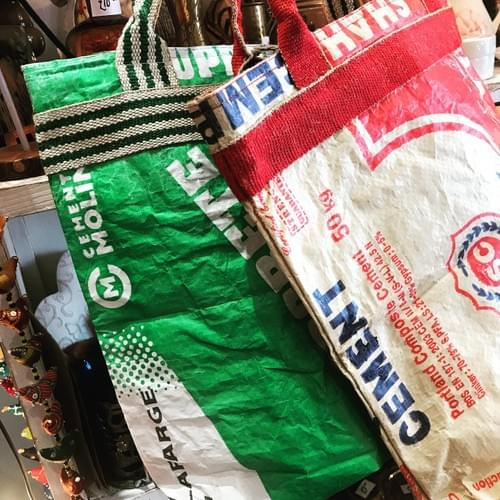 Up-cycled cement tote bags