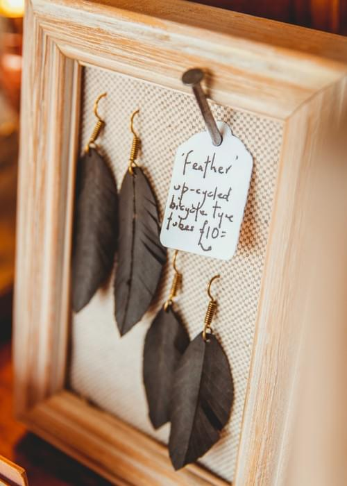 Handmade up-cycled 'Feather' earrings