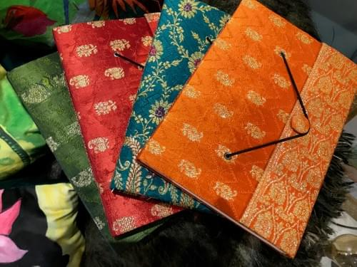 Journals covered in wedding sari silk