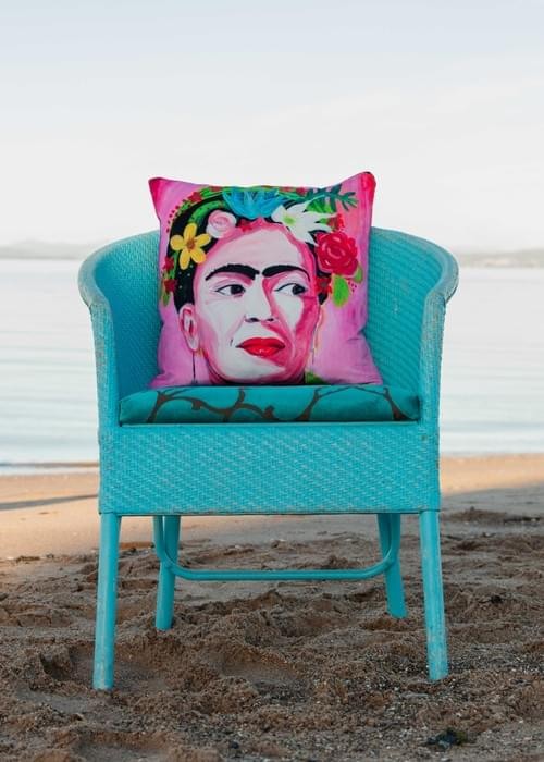 *WAITING FOR NEW STOCK* Handmade velvet cushion 'Pink Frida' designed by Beach Bird