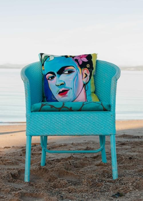 Handmade velvet cushion 'Blue Frida' designed by Beach Bird
