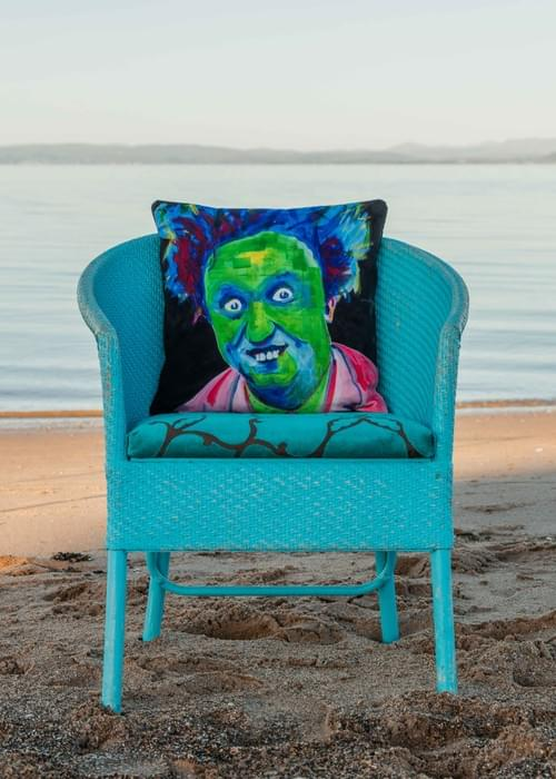 *WAITING FOR NEW STOCK8* Handmade velvet cushion 'Ken Dodd' designed by Beach Bird