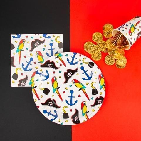 Thème Pirates assiette, gobelet et invitations