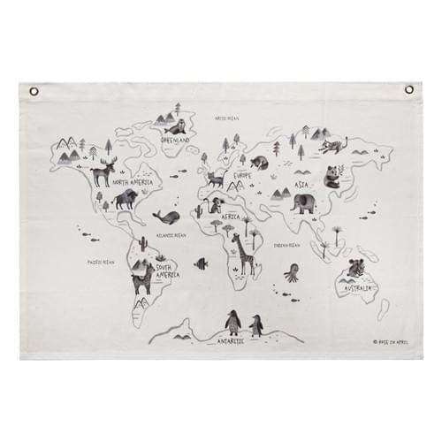 Carte du monde sur toile coton