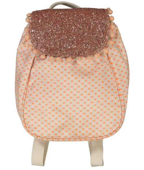 Sac à dos maternelle à pois orange fluo