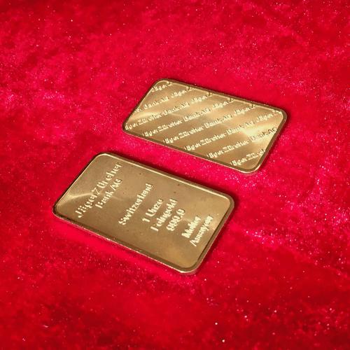 Gold-Plated 1oz bar JagerZurcher Bank AG