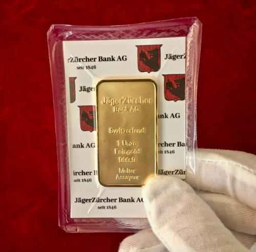 1oz Gold-Plated bar JagerZurcher Bank AG (sealed edition)