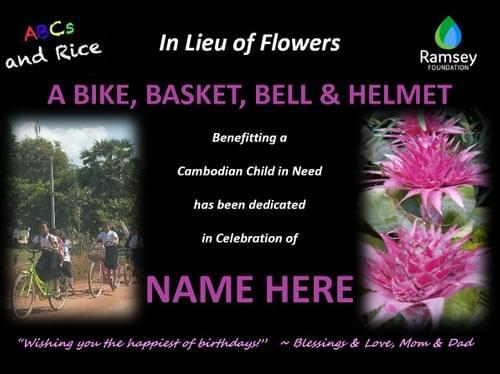 """""""In Lieu of Flowers""""  Bike Package"""