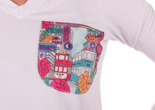 V neck thumb hook long sleeves t-shirt
