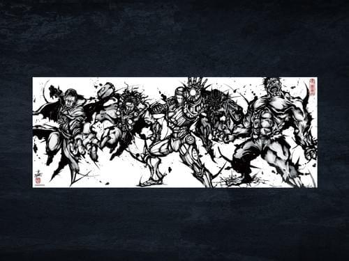 マーベル手拭い「アベンジャーズ武人画」