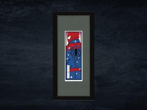 スパイダーマン浮世絵札 「蜘蛛男・桜吹雪」額入