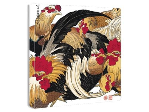 【浮世絵ファブリックボード】群鶏