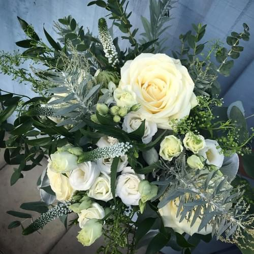 Whimsical White Hand Tied Bouquet