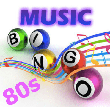80s Music Bingo PK, 40 Clips, Songs & PDF Game Cards to play and print from home.