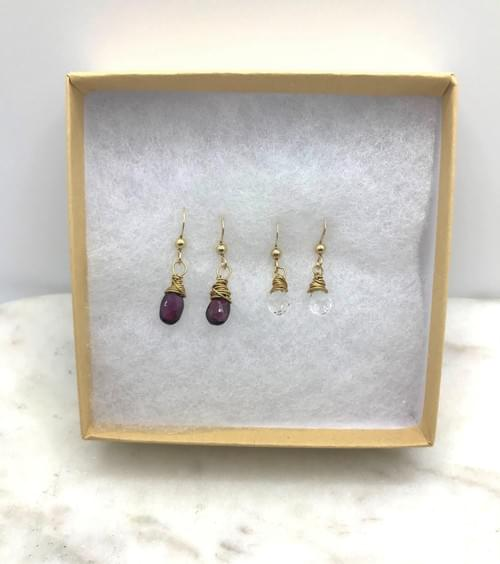 Garnet and Crystal Quartz Gold Earring Pairs
