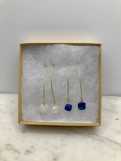 Moonstone and Lapis Cube Brass Earring Pairs