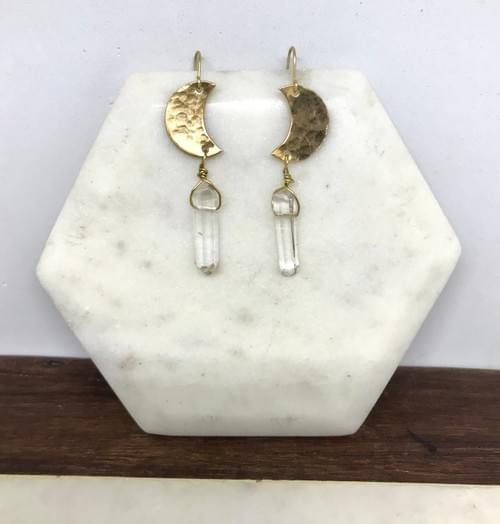 Hammered Brass and Crystal Point Crescent Moon Earrings
