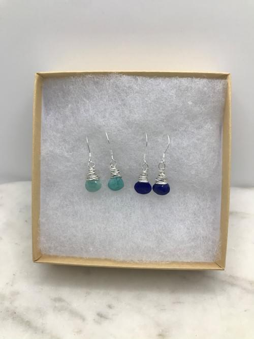 Amazonite and Lapis Silver Earrings Pairs