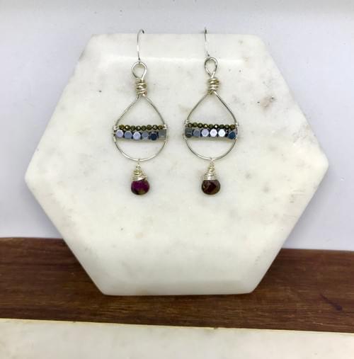 Tourmaline, Hematite and Pyrite Earrings