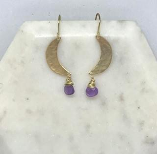 Amethyst and Hammered Brass Crescent Moon Earrings
