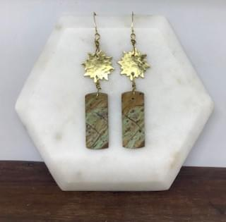 Hammered Brass Sun and Picture Jasper Earrings