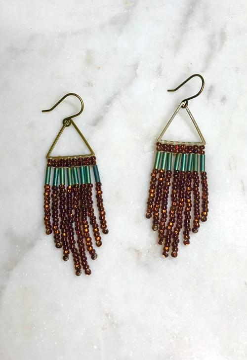 Metallic Teal and Bronze Hand Stitched Fringe Earrings