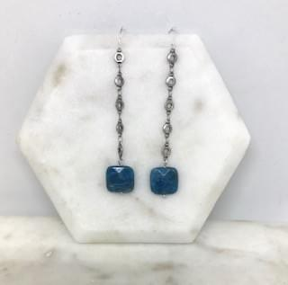 Apatite and Antiqued Silver Chain Earrings