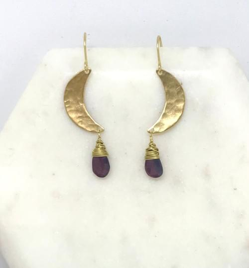 Deep Red Garnet and Hammered Brass Crescent Moon Earrings