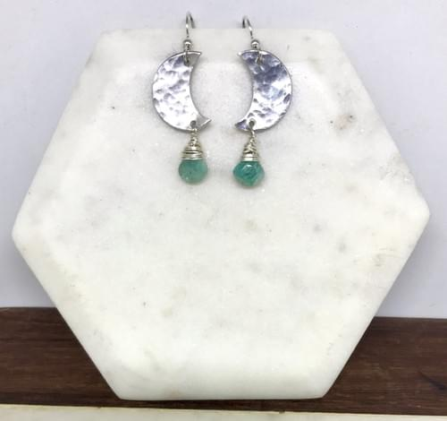 Hammered Silver and Amazonite Crescent Moon Earrings