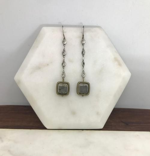 Pyrite Cube Mixed Metals Earrings