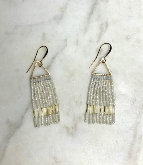 Winter White and Gold Hand Stitched Fringe Earrings