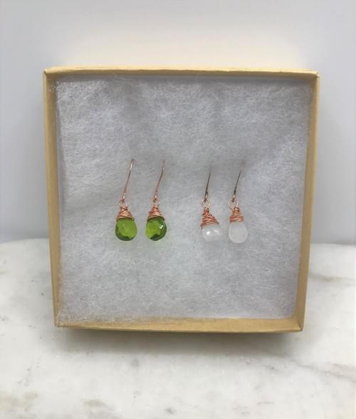 Peridot Glass and Moonstone Copper Earring Pairs