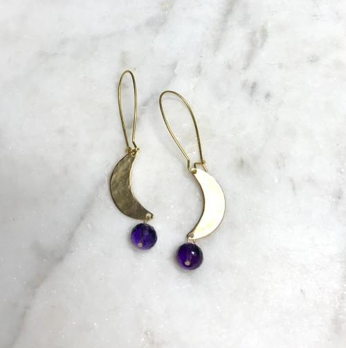 Amethyst and Hammered Gold Crescent Moon Earrings