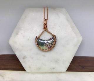 Indonesian Moss Agate Moon Necklace