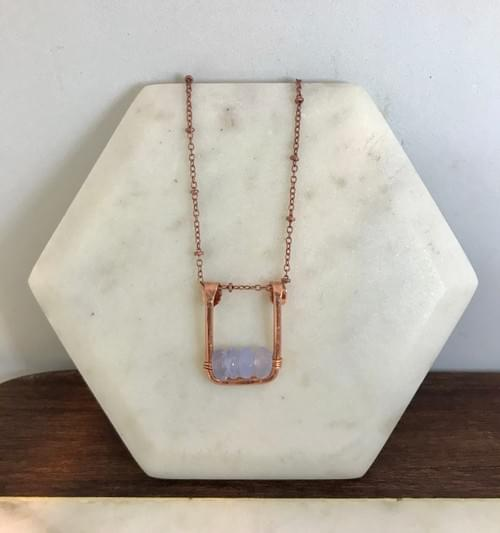 Hammered Copper and Blue Lace Agate Necklace