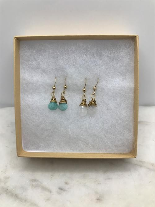 Amazonite and Moonstone Earrings Pairs