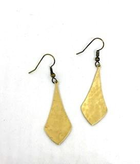 Hammered Brass Simple Statement Earrings