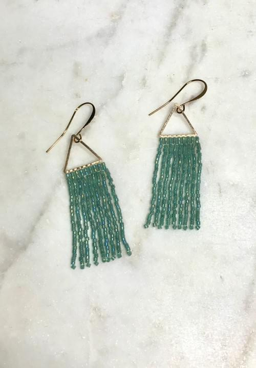 Green opal and gold Fringe Earrings