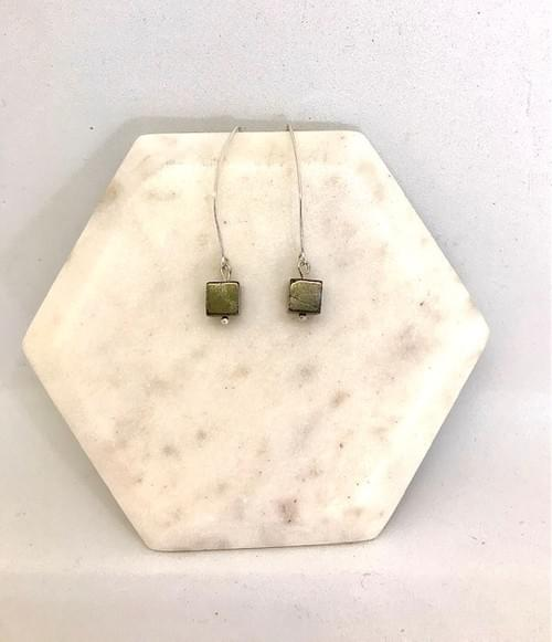 Pyrite Cube and Sterling Silver Earrings