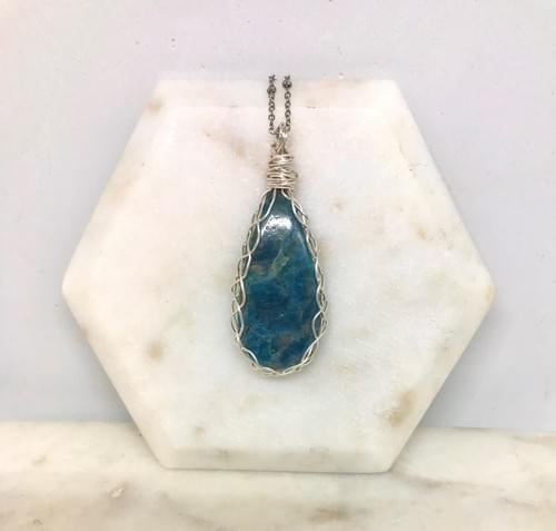 Blue Apatite Teardrop Necklace