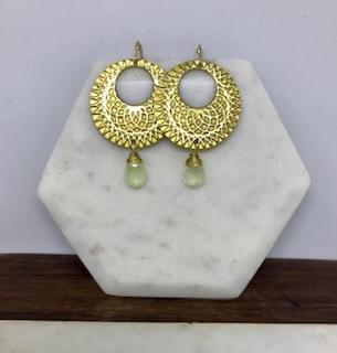 Boho Brass and Prehnite Hoop Earrings