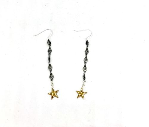 Gold Star and Antique Silver Mixed Metal Earrings