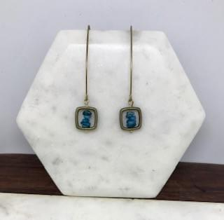 Blue Apatite and Brass Cube Earrings