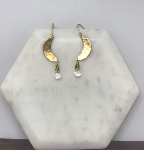 Hammered Brass and Faceted Crystal Quartz Crescent Moon Earrings