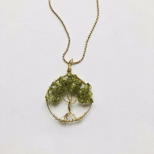 Peridot and Goldtone Brass Wire Wrapped Tree of Life Necklace