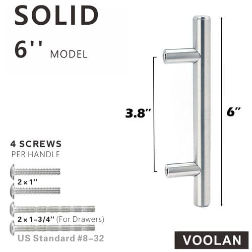 """6"""" Cabinet Handles with Mounting Template - 3.8"""" Hole Center Brushed Nickel Pulls 2"""